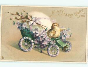 Pre-Linen Easter CUTE CHICK RIDING ON CAR DECORATED WITH FLOWERS AB3885