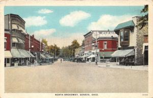 Geneva Ohio~North Broadway~Stores~Sign on Sidewalk~Famous Fishers Bread~1920s Pc