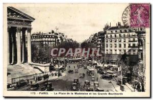 Paris Old Postcard Place de la Madeleine and the Grands Boulevards