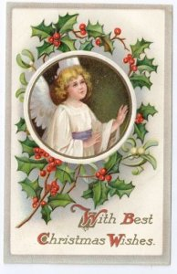 Christmas Angel Framed w Embossed Holly Vintage Litho IAP Postcard
