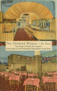 The Covered Wagon Restaurant, St Paul Linen Postcard