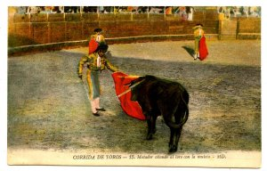 Mexico - Bullfighting. Matador Citing the Bull with the Crutch
