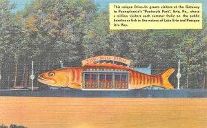 Erie PA Peninsula Park Fish Shaped Diner Linen Postcard