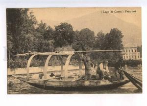 232923 ITALY Lago di COMO fishermen Vintage postcard