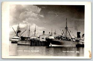 Long Beach California~Harbor Freighters~City Pier No 50~Fishing Boats~1941 RPPC