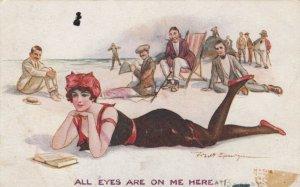 AS: Pretty woman reading at the beach, Men gawking, 1900-10s