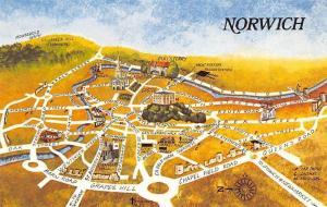 Norwich city centre, medieval walls, map