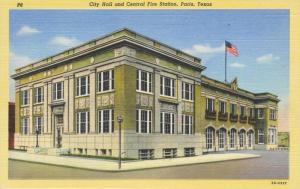 City Hall & Central Fire Station Paris TX Texas Unused Vintage Linen Postcard E8