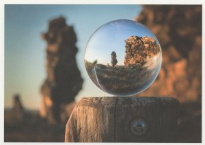 Giant Marble Magnifying Glass Toy Ball in Canyon Rocks German Postcard