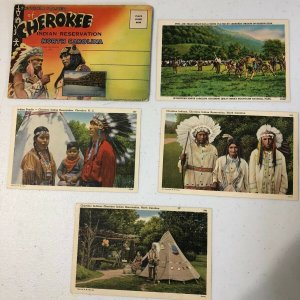 1930's Cherokee Indian Reservation Post Card Lot With Souvenir Folder NC Western