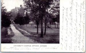 Ottawa, Kansas Postcard UNIVERSITY CAMPUS w/ 1908 Cancel