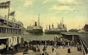Harbor Scene, Detroit, Michigan, USA Steamer Ship Ships Postcard Postcards  D...