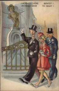 Bathroom Humor Manneken-Pis Peeing Statue & Amused Tourists Postcard #9