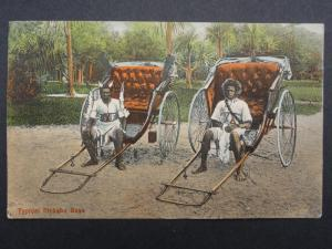 South Africa TWO TYPICAL RICKSHA BOYS & RICKSHA c1913 - Bill Hopkns Collection