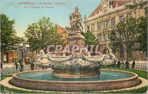 Postcard Old Marseille La Fontaine Estrangin and the Bank of France