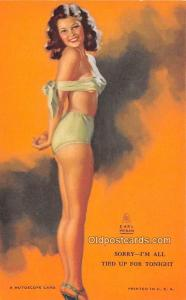 Tied up for Tonight, Earl Moran 1945 Mutoscope Artist Pin Up Girl, Non Postca...