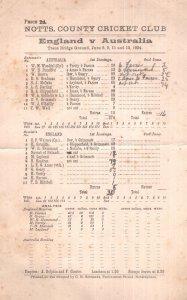 England Vs Australia Antique 1934 Ashes Cricket Score Card