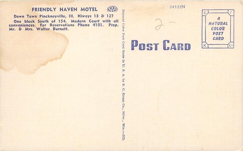 Pinckneyville Illinois~Friendly Haven Motel~Umbrella Patio Furniture~1940 Linen