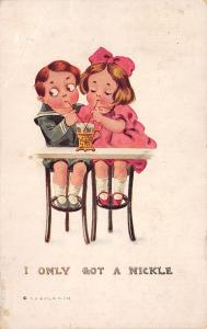 Artist~I Only Got a Nickel Kids Share Soda~Two Straws~TP&Co~1911 Postcard