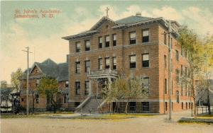 Jamestown N D~St Johns Academy~Walk-Out OverPorch Steps 1910 Postcard