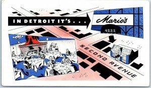 Detroit, Michigan Postcard MARIO'S RESTAURANT 4222 Second Avenue c1950s Unused