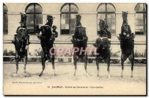Old Postcard Horse Riding Equestrian Saumur Cavalry School bows