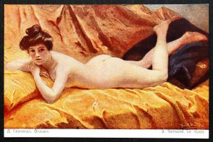 140495 GERNAND In Repose Nude Female French Art RICHARD Ed IMP RUSSIA pc 1910s