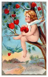 Valentine , Cupid in tree , hearts