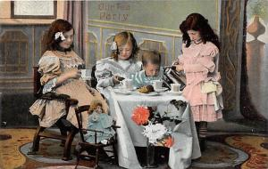Our Tea Party with doll Child, People Photo Unused