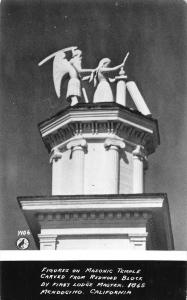 Mendocino California carved Redwood figures Masonic Temple real photo pc Z39994