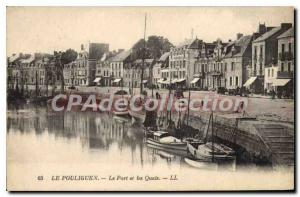 Old Postcard Pouliguen The Port And The Quays