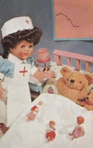 Teddy Bear With Doll Dressed as a Nurse 1960s British Postcard