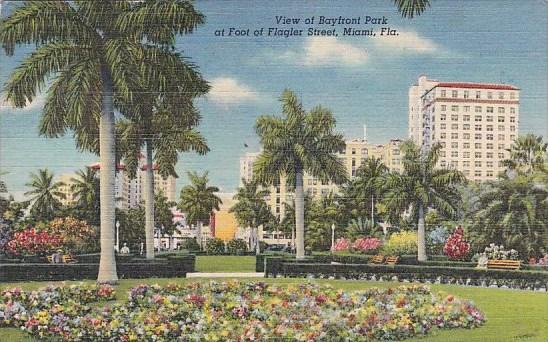 Florida Miami View Of Bayfront Park 1952