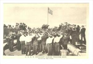 U.S.S.B. Merchant Marine Training Ship, USA, 1910-30s   Saluting the Flag