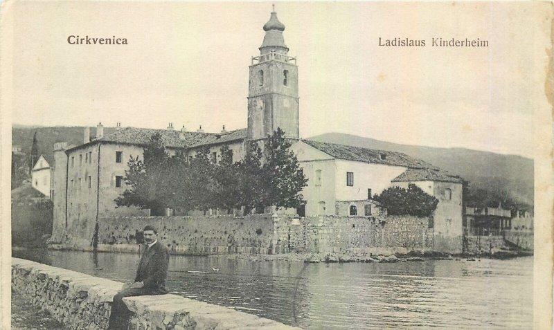Postcard Croatia Cirkvenica Ladislau Kinderheim sea tower