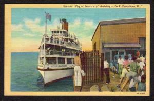 NJ Steamer Steamship city of Keansburg New Jersey Linen Postcard Ship