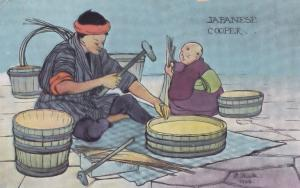 Japanese Cooper Barrell Maker Antique Japan 1906 Craft Postcard