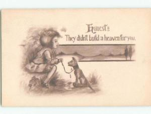Pre-Linen CUTE GIRL TELLS CRYING DOG THERE IS NO HEAVEN FOR DOGS W7027