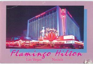 Flamingo Hilton Hotel Las Vegas Nevada Night Scene Casino Postcard  # 7407