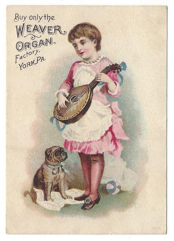 Victorian Trade Card York PA Weaver Organ Factory Pug Dog