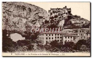Old Postcard Vaucluse Fountain and the castle of Petrarch