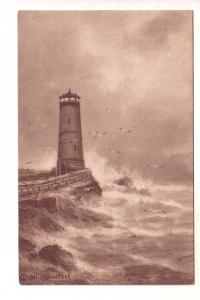 Lighthouse, Sepia Signed 1911 HA Duessel, The Pink Perfection