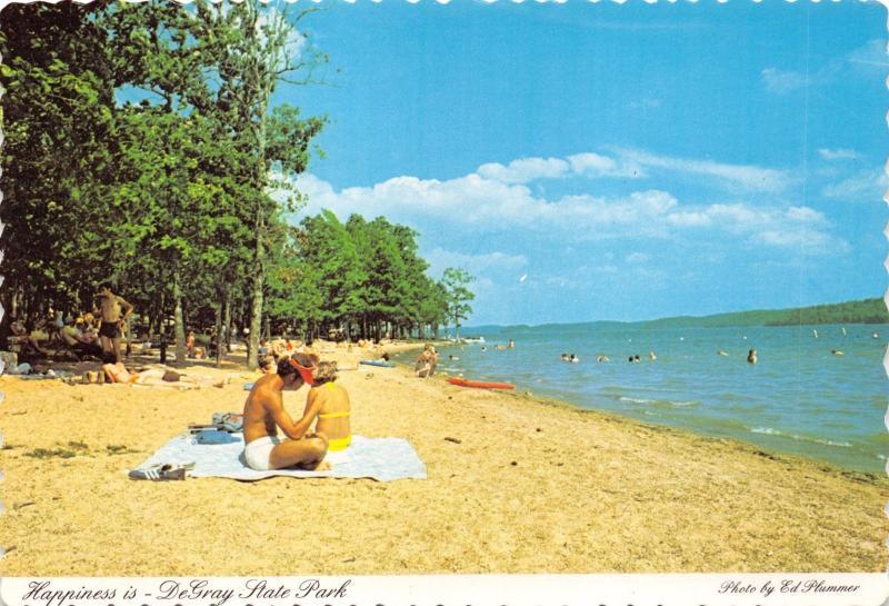 BISMARCK ARKANSAS DeGRAY STATE PARK HAPPINESS ON THE BEACH POSTCARD 1960s
