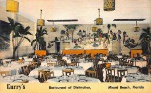 Curry's Restaurant of Distinction, Miami Beach, Florida, early linen postcard