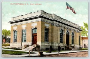 Gloversville NY~Busy Corner @ Post Office Entrance~Man w/Dog Chats~Fire Hydrant