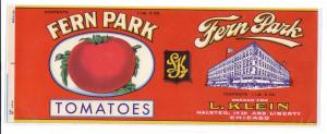 Fern Park Tomatoes Vintage Can Label Chicago IL 1 lb 3 oz