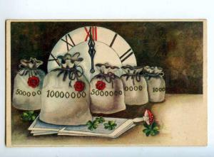 244276 NEW YEAR Wishes CLOCK Amanita MUSHROOM 1936 Vintage PC