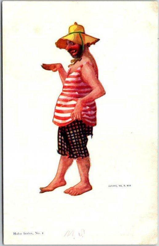 Vintage 1903 Artist-Signed R. HILL Postcard HOBO SERIES No. 1 Undivided Unused