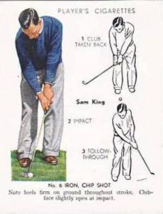 Player Vintage Cigarette Card Golf 1939 No 18 No 6 Iron Chip Shot Sam King