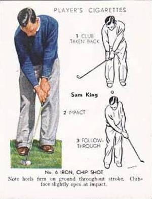 Player Vintage Cigarette Card Golf 1939 No 18 No 6 Iron Chip Shot Sam King